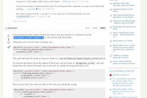 Removing jQuery from footer